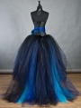 Black and Blue Long Gothic Burlesque Corset Prom Dress