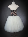 Floral and White Romantic Gothic Corset Prom Dress