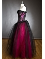 Black and Fuchsia Gothic Burlesque Long Prom Corset Dress