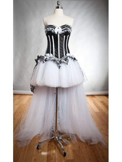 White and Black Gothic Burlesque High-Low Corset Prom Dress