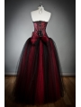 Wine Red Long Gothic Corset Prom Dress