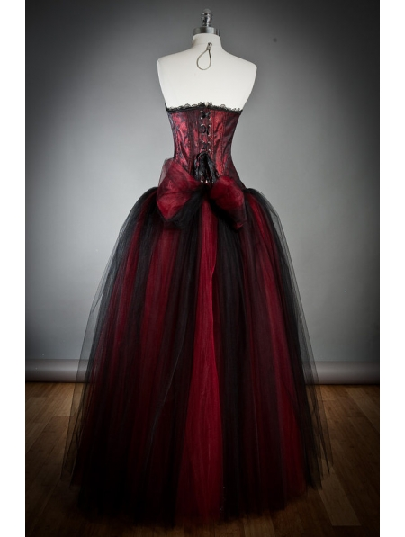 Wine red long gothic corset prom dress for Gothic corset wedding dresses