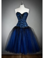 Blue Gothic Burlesque Short Corset Prom Party Dress