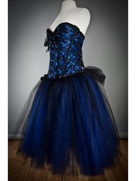 Blue Gothic Burlesque Short Corset Prom Party Dress - Devilnight.co.uk