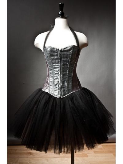 Halter Gothic Burlesque Corset Short Prom Party Dress