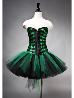 Green and Black Gothic Burlesque Corset Short Prom Party Dress