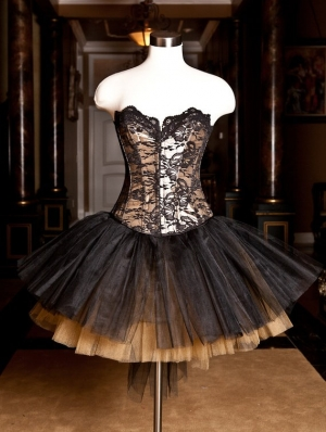 Champagne Lace Gothic Burlesque Short Corset Prom Party Dress