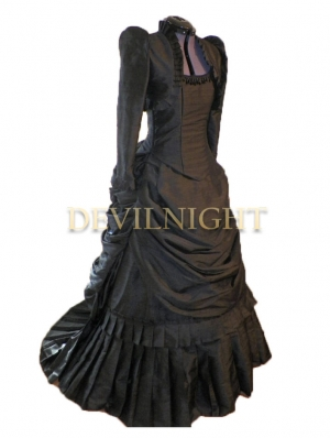 Black Gothic Victorian Bustle Dress with Long Sleeves Short Jacket