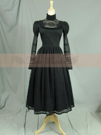 Black Vintage Long Sleeves Romantic Victorian Dress
