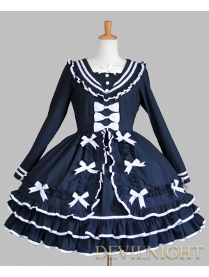Blue Cotton Long Sleeves Bow Sweet Lolita Dress