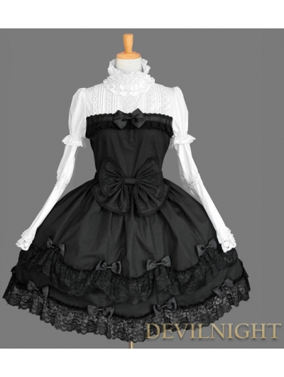 Black and White Cotton Long Sleeves Sweet Gothic Lolita Dress