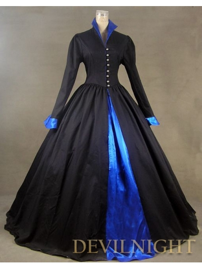 Black and Blue Long Sleeves Gothic Victorian Dress