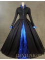 Black and Blue Long Sleeves Gothci Victorian Dress