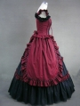 Red and Black Vintage Gothic Victorian Dress