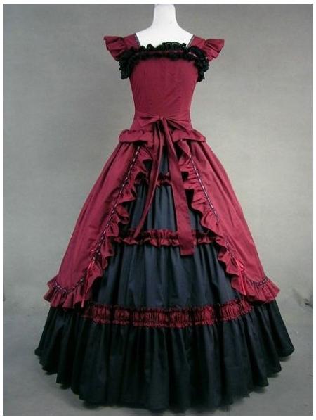 red and black vintage gothic victorian dress devilnight