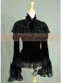 Black Velvet Long Sleeves Romantic Lace Gothic Cape Blouse