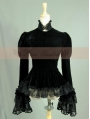 Black Velvet Long Sleeves Romantic Lace Gothic Cape Blouse