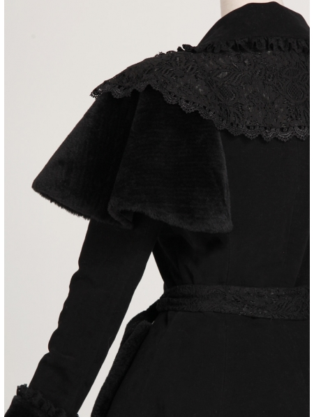 black long sleeves lace winter gothic coat for women