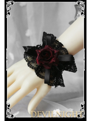 Black Lace Red Rose Gothic Lolita Bracelet