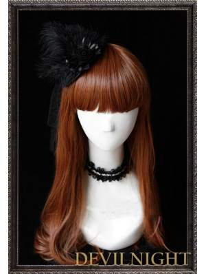 Black Bow Fur Hat Gothic Lolita Headdress
