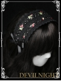 Black Lace Bow Floral Pattern Gothic Lolita Headband