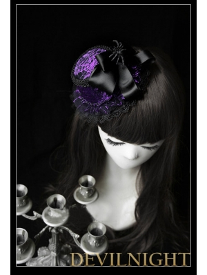 Purple Cobweb Pattern Bow Hat Headdress