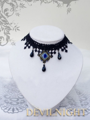 Black Lace Blue Pendant Gothic Vampire Necklace