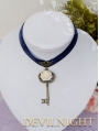 Blue Flower Key Vintage Victorain Necklace