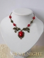 Red Pendant Vintage Necklace Jewelry