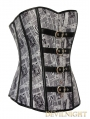 Newspaper Pattern Overbust Fashion Gothic Corset