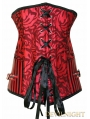Red Pattern Overbust Fashion Steampunk Corset