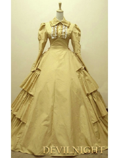 Yellow Cotton Long Sleeves Classic Gothic Victorian Dress