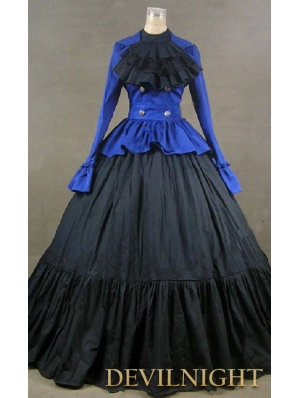 Blue and Black Cotton Long Sleeves Gothic Masquerade Dress