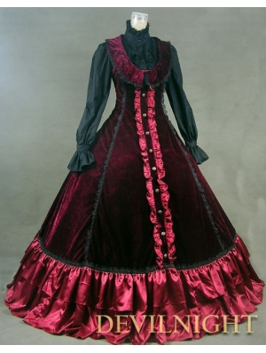 Red Velvet Sleeveless Gothic Victorian Dress