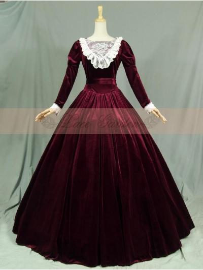Velvet Long Sleeves Lace Victorian Dress