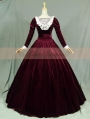 Wine Red Velvet Long Sleeves Lace Victorian Dress