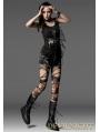 Black Sleeveless Gothic Punk T-Shirt for Women