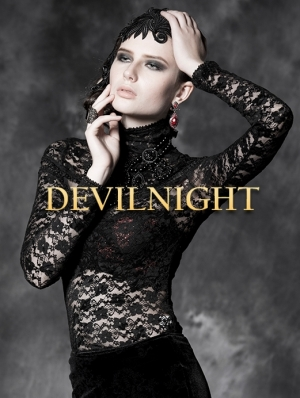 Black Sexy Lace High Collar Long Sleeves Gothic Top for Women