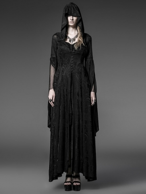 Black Pattern Hooded Gothic Vampire Medieval Dress