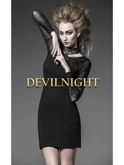 Black Long Sleeves Sexy Gothic Short Dress