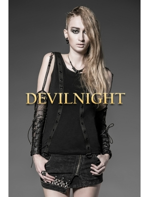 Black Gothic Punk Shirt for Women with Oversleeves
