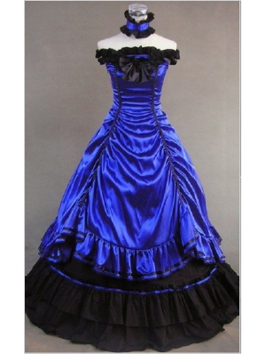 Blue Off-the-Shoulder Masquerade Gothic Ball Gowns
