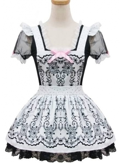 Printed Sweet French Maid Lolita Dress