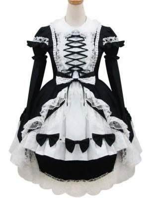 White and Black Long Sleeves Sweet Maid Lolita Dress