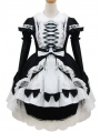 White and Black Long Sleeves Sweet Maid Lolita Dress