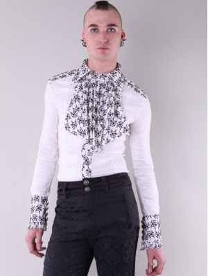 White Bowtie Long Sleeves Gothic Pattern Blouse for Men
