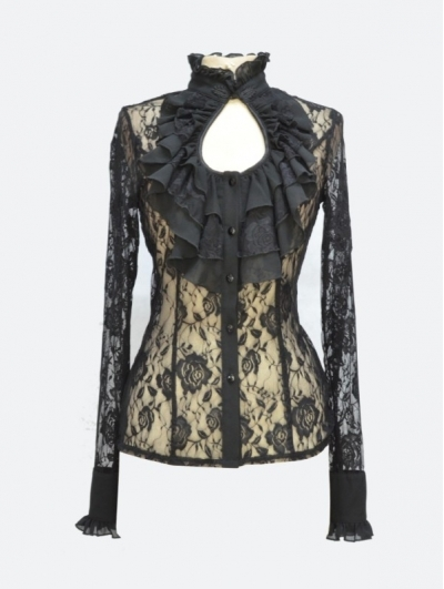 Black Rose Lace Keyhole Sexy Gothic Blouse for Women
