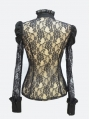 Black Rose Lace Bowtie Sexy Gothic Blouse for Women