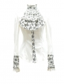 White Bowtie Long Sleeves Gothic Pattern Blouse for Women