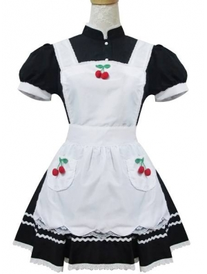 White and Black High Collar Sweet Maid Lolita Dress